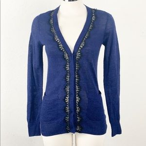 Rebecca Taylor Blue & Black Lace Button Cardigan